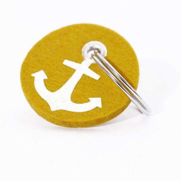 Schlüsselanhänger, filz, rund, bedruckt, anker