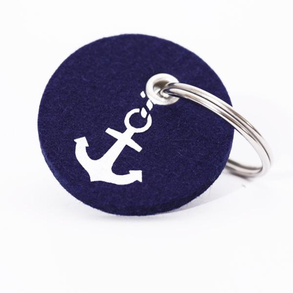 Schlüsselanhänger, filz, rund, bedruckt, anker klein