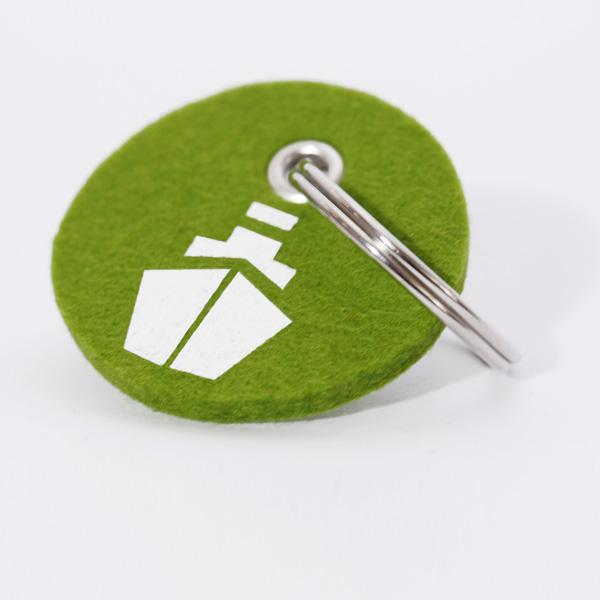 Schlüsselanhänger, filz, rund, bedruckt, Dampfer
