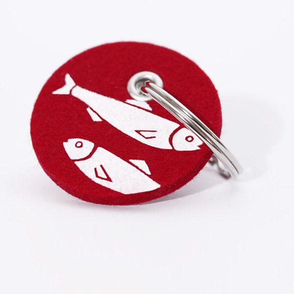 Schlüsselanhänger, filz, rund, bedruckt, Fische