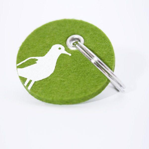 Schlüsselanhänger, filz, rund, bedruckt, Möwe