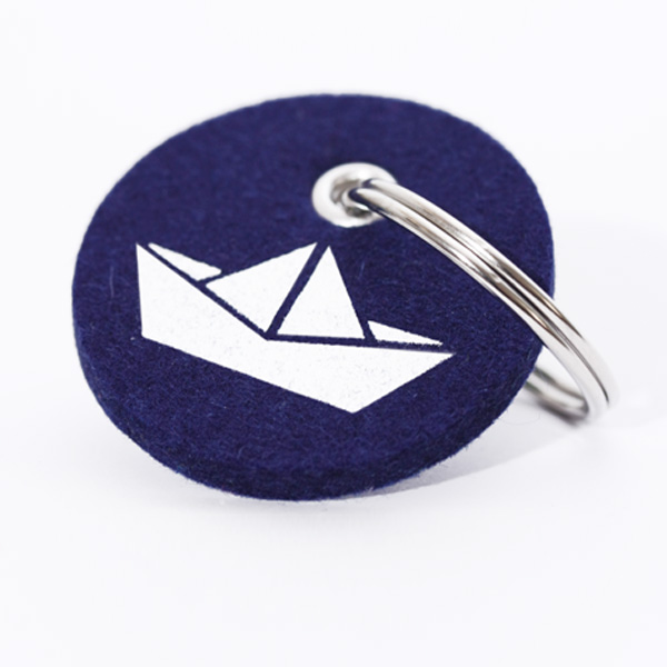 Schlüsselanhänger, filz, rund, bedruckt, Papierschiff