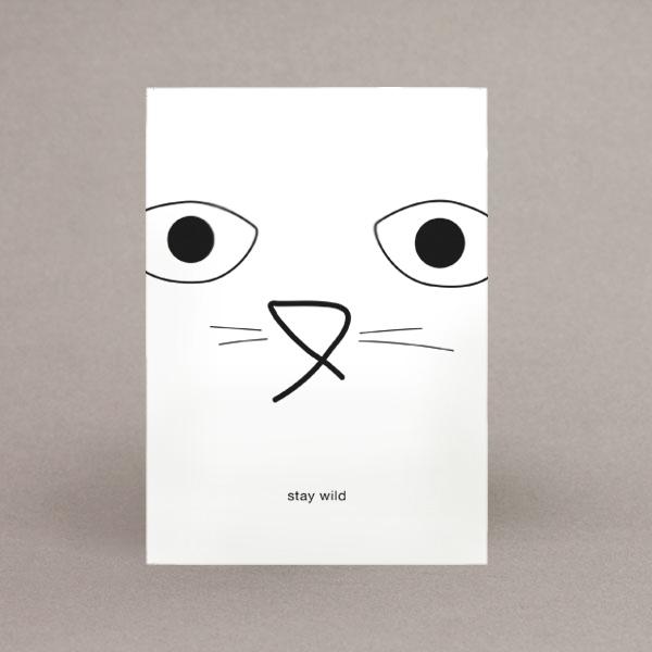 cat stay wild postkarte